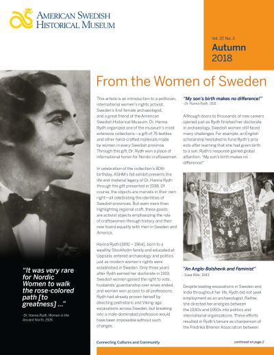 American Swedish Historical Museum - Fall 2018 Newsletter